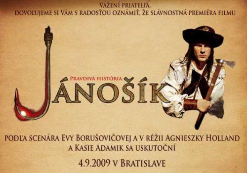 Pozvánka na slávnostnú premiéru filmu Jánošík, pravdivá história